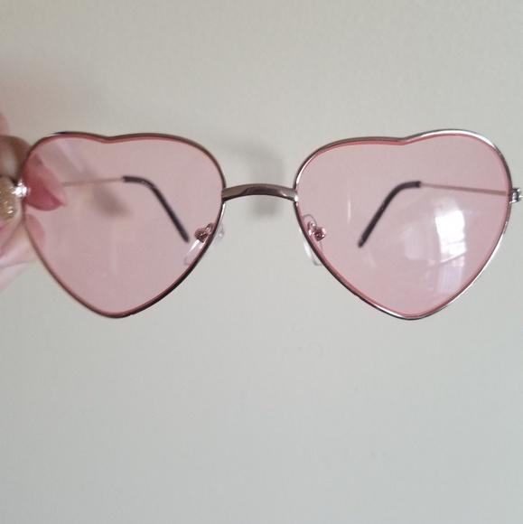 c67d6c204c4d Heart Shaped Sunglasses  Pink Lenses   Gold Frame